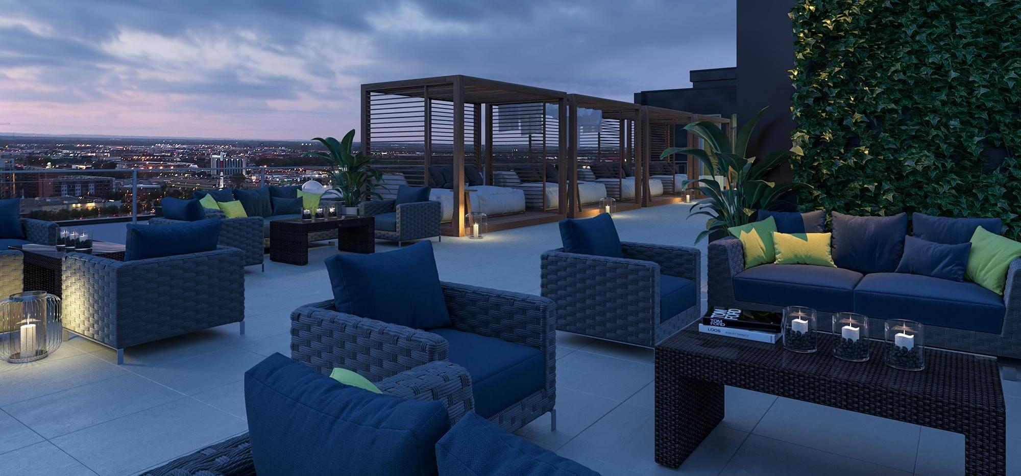 terrasse sur toit de nuit les tours saint martin projet de condo locatif. Black Bedroom Furniture Sets. Home Design Ideas