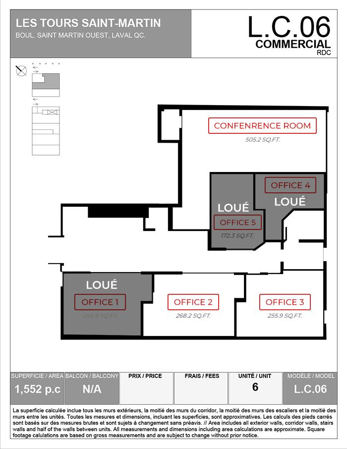 Plan du local commercial L.C.06 - déjà loué